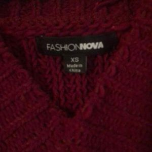 Fashion Nova Sweaters - Fashion Nova Burgundy Red Distressed Sweater